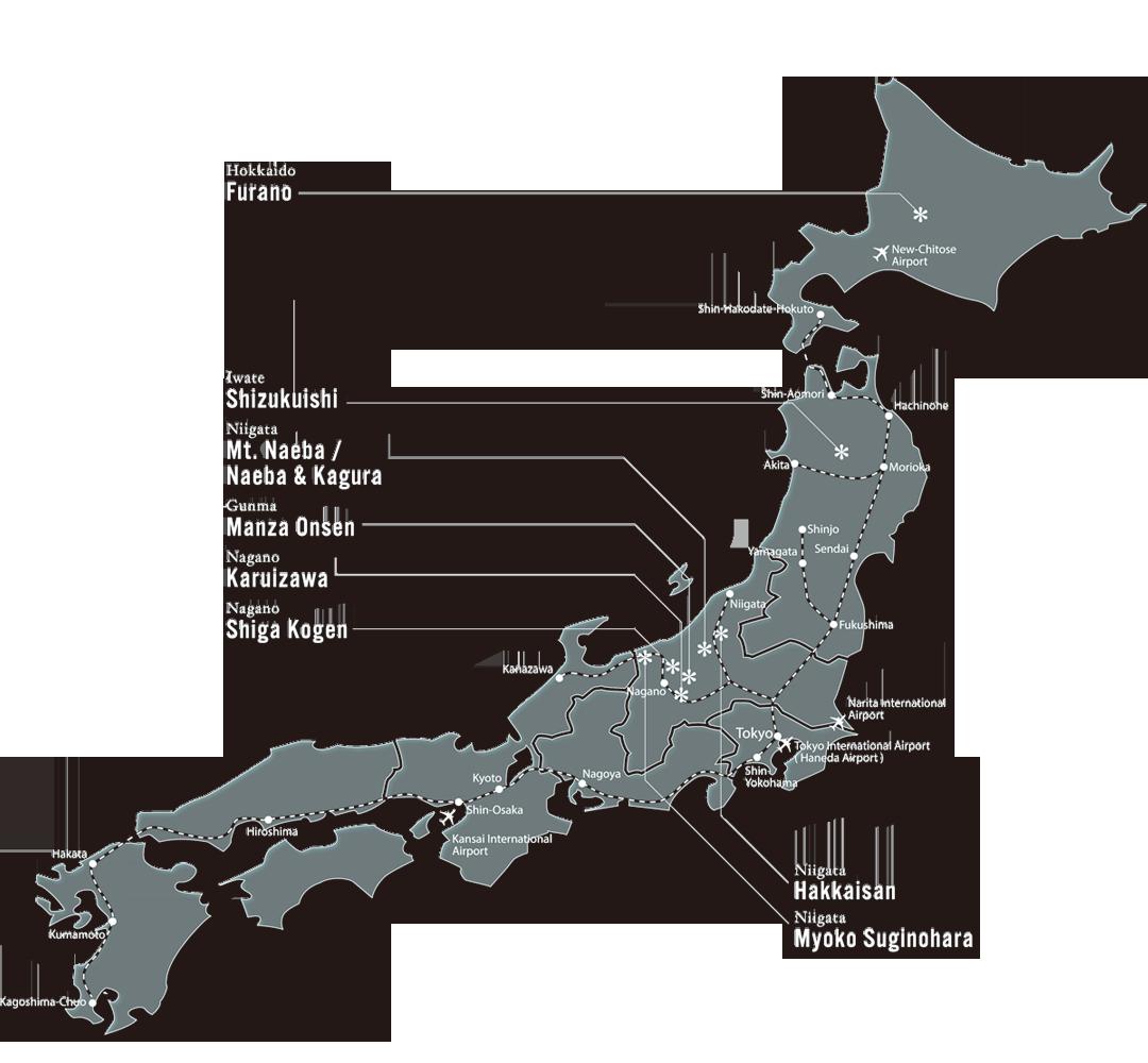 Prince Hotels Snow Resorts - Japan map niigata