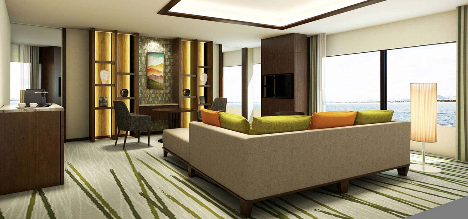 Guest rooms on floors 21-35, the Entrance Lobby, and the Lobby Lounge are open after renovations.